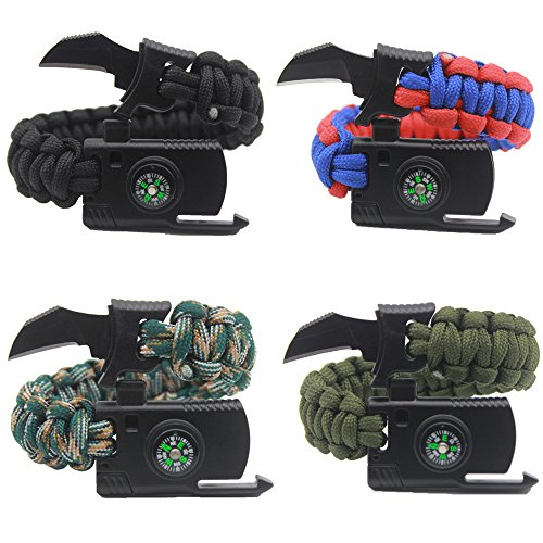 4個セットですAueye Survival Bracelet サバイバルブレスレットナイフ 多機能/登山/野外生存ブレスレット 安全対策追加コンパス /ホイッスル/ナイフ/ファイヤースターター
