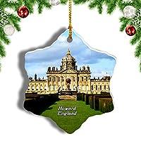 Weekinoイギリスイングランドキャッスルハワードクリスマスオーナメントクリスマスツリーペンダントデコレーション旅行お土産コレクション陶器両面デザイン3インチ