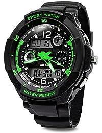 TOPCABINデジタルアナログ男の子女の子スポーツデジタル腕時計withアラームstopwatch-50 m Water Proof グリーン