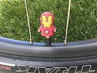 2スーパーヒーロー。。。シュレーダーバルブキャップ。。。iron-man。。。Cycling。。。MTB自転車。。。