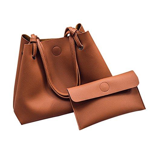 BagsFan トートバッグ レディース ハンドバッグ 手提げバッグ クラッチバッグ付き PUレザー 大容量 エレガント 通勤 通学 デートなどに最適 2点セット