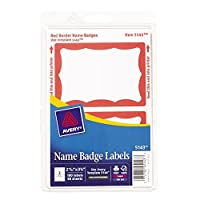 avery print or write name badge labels red border 2 11 32 x 3 3 8