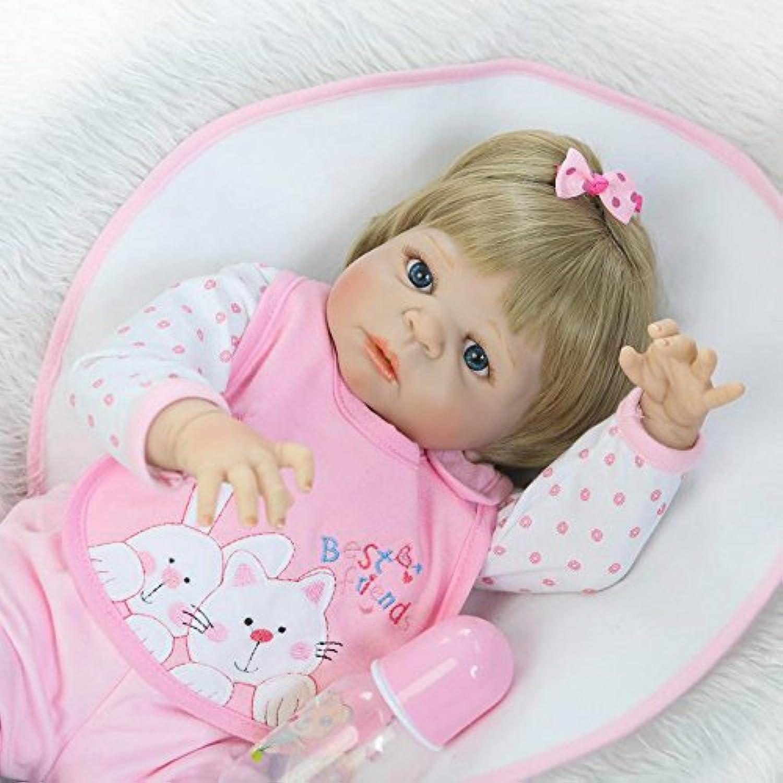 ガールReborn新生児フルボディシリコンベビービニール人形22インチRealistic子供ギフトwith磁気口Goldenショートウィッグ