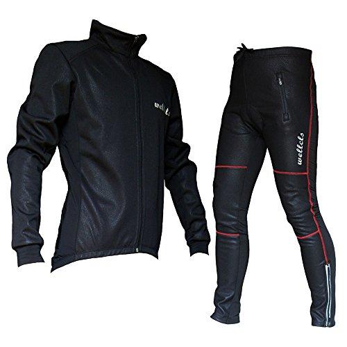 Wellcls(ウェルクルズ) 冬用 サイクルジャケット 上下セット 防風 ウインドブレーク サイクリング 黒×赤 L