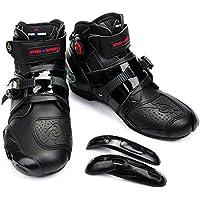 (まごころ e-ショップ) オートバイ靴 バイク用ブーツ レーシングブーツ 強化防衛靴 ライダーブーツ ショートブーツ  スポーツシューズ ブラックブラック 約26-26.5cm&42