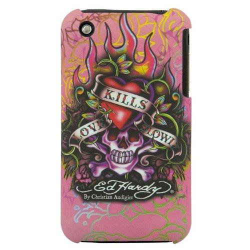 EdHardyエドハーディーiPhone 3G/3GS用 携帯カバー ラブキルスローリー ピンク