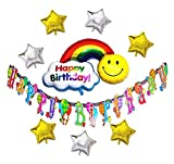 HOPIC バースデー 飾り付け ガーランド セット バナー × バルーン 誕生日 お祝い パーティー 飾り アルミ 風船 スター レインボー
