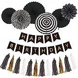 誕生日 飾り付けセット HAPPY BIRTHDAYガーランド ペーパーファン (モノトーン)
