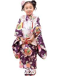 [キョウエツ] 着物セット 七五三用 3歳用 被布セット 華やかA 9点セット(柄被布、柄着物、伊達衿、長襦袢、髪飾り、巾着、草履、腰紐、足袋) ガールズ