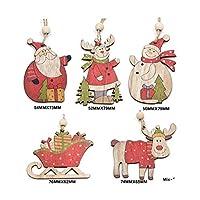 マルチスタイルクリエイティブウッドクラフトクリスマス木製ペンダントオーナメントキッズギフトDIYクリスマスツリーオーナメントクリスマスパーティーデコレーション-V-Mix 1479-