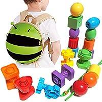 子供用動物バックパックwith教育玩具セット – プライマリLacing Beads/ジャンボナット&ボルト。Learn色、形状、並べ替え、Stacking、モータースキルand More (24 pcセット+幼児用旅行バックパック) Green Bumblebee
