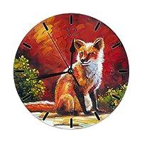 レッドフォックスポップヘッド絵画屋外家族装飾時計取り付けられた寝室リビングベッドダイニングルーム寮壁デスクHomeDecorフレームレス非カチカチ音をたてる