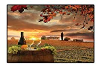 屋内/屋外 フロアマット 静物 ワインの寿命 木製樽 古代 オールドファッション ワインキーパー 風景 グリーン シエナ ブラウン お手入れ簡単 4フィートx5フィート 6'x7' /W180cm x L210cm DT-QY-0901-02402K180xC210