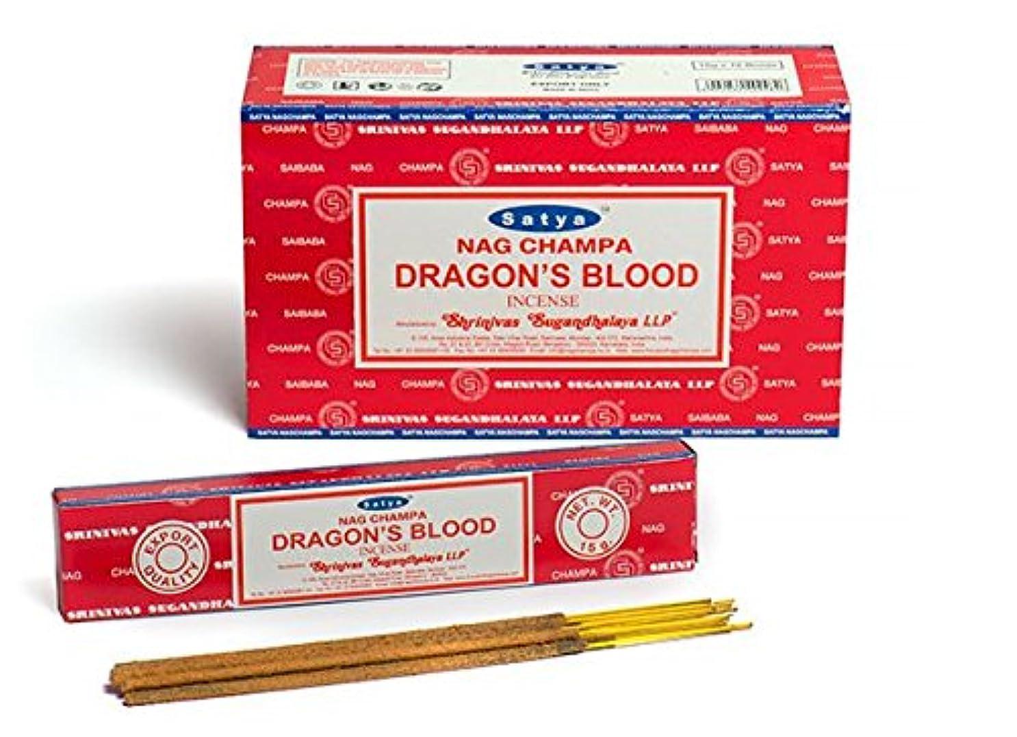 弁護人キャンパスアーティストSatya Nag Champa Dragon's Blood お香スティック Agarbatti 180グラムボックス | 15グラム入り12パック 箱入り | 輸出品質