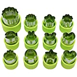 Elenxs 12pcs/Set Stainless Steel Fruit Floral Shape Cutter Salad Carving Vegetable Mold Kitchen Tools Cookie Fondant