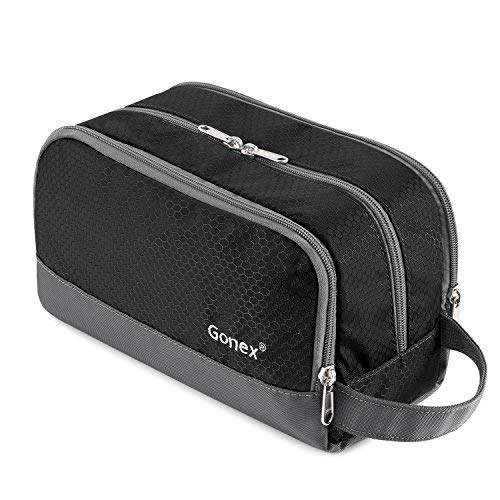 Travel Toiletry Bag Nylon, Gonex Dopp Kit Shaving Bag Toiletry Organizer Black