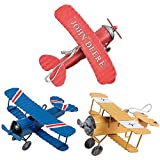 Pack of 3 Airplane Decor Vintage Mini Metal Decorative Airplane Model Hanging Wrought Iron Aircraft Biplane Pendant Tin Toys for Photo Props, Christmas Tree Ornament, Desktop Decoration, 3 Color