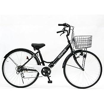 GRAPHIS(グラフィス) 折りたたみ 自転車 シティサイクル 26インチ シマノ製6段ギア GR-CITY ブラック