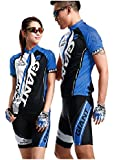 サイクルウェア ジャージ 自転車ウェア サイクリングウェア ブルー 上下セット 半袖 Mサイズ