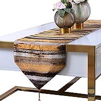 テーブルランナー テーブルランナーローテーブルフラグ布クロス縞模様のベッドフラグ寝室用ベッドタオル結婚式の夕食のためのテーブルの旗の装飾 (Color : Gold, Size : 32*210cm)