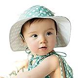 Meilleur reve(メイヤーリーブ)【選べる3色】 赤ちゃん ベビー キッズ 子供 用 帽子 女の子 男の子 かわいい デザイン つば 付き 日焼け UV 日よけ (01グリーン)