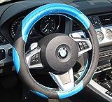 AUTOMAN(オートマン) ハンドルカバー エナメルカーボン調合成皮革 大胆な切替デザイングリップ スポーティースタイル ステアリングカバー ワゴンR ムーブ N-BOX フィット等 軽自動車 普通車にぴったり ゴム特有の臭いがしない! 適合サイズ 直径36.5~38.0cm カーボン調合成皮革×黒色PUグリップ AH-010 (ブルー×ブラック)