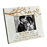 DOPTIKA Wood Frame to My Future Wife - Engraved Natural Wood Photo Frame - I'm Prepared to Be Your Last [並行輸入品]