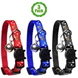 Cat Collar Stars and Moon, 3-Pack, Reflective with Bell, Solid & Safe Collars for Cats, Nylon, Kitty Collars, Pet Collar, Breakaway Cat Collar, Free