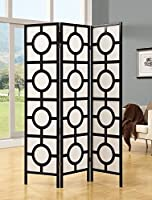Monarch Specialties Frame 3-Panel Circle Design Folding Screen Black 【Creative Arts】 [並行輸入品]