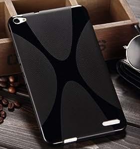 【Fitwhiny】 Huawei MediaPad X1 7.0 【全2色】 スタイリッシュXライン TPU シリコンケース カバー ファーウェイ イヤホンジャックキャップ付き (ブラック) 103-1