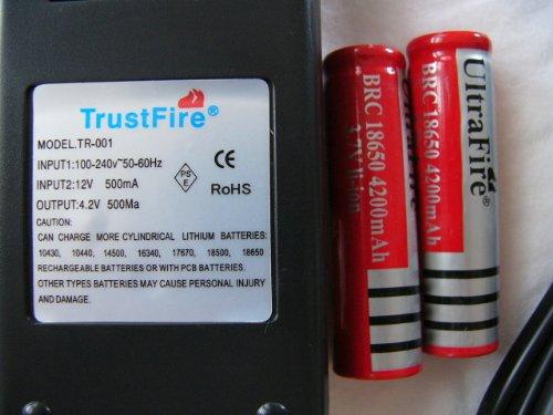 TrustFire リチウムイオン充電器 PSE取得商品 18650リチウムイオン電池2本セット 18500/17670/16340/14500/10440/16430対応