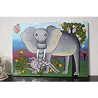 オマリー・アモンデの『象』ティンガティンガ絵画★タンザニア現地木枠張り、生原画の一点もの★700x500mm★師の死去2ヶ月前の作品です。