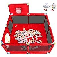 ベビープレイペン 赤い赤ちゃん遊びフェンス屋内ベビー幼児フェンスホームボールプール(200海洋ボール)