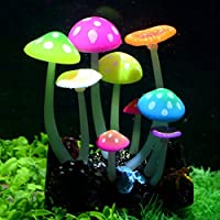 Pawfly 輝く効果人工キノコ 水族館 植物装飾 魚タンク用