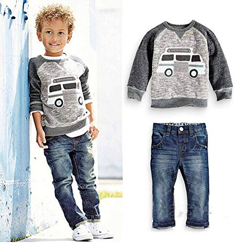 Kidscool Space Chumhey Little Boys Auto Printed Long Sleeve Sweaters Washed Jeans Pants Set,Grey&Blue,4-5 Years