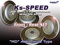 Ks-SPEED DISC ROTOR■MDディンプル(湾曲6本スリット+ディンプルホール)タイプ■LEXUS IS350 GSE21用1台分SET(Front品番MD9157/Rear品番MD9076)