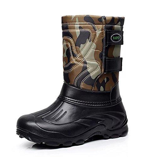 ブーツ レディース メンズ スノーブーツ 冬用 防寒 防滑 ショートブーツ アウトドアシューズ (26.0cm, グリーンB)