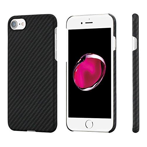 「PITAKA」 iPhone8 ケース/iPhone7 ケース Magcase 軍用防弾チョッキ素材アラミド繊維 薄い 超軽量 超頑丈 スリム 薄型 衝撃吸収 高耐久性 ワイヤレス充電対応 ミニマリスト 高級カーボン柄 (ブラック/グレー)