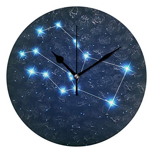 ユキオ(UKIO) 掛け時計 置き時計 壁掛け時計 室内 部屋装飾 壁時計 インテリア おしゃれ 北欧 ペガスス座 きらきら 星 ギフト 時計 アート 部屋 ウォールクロック 円型 かわいい