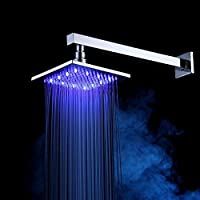XY & XH正方形温度コントロールwith LEDライトフル銅バスルームシャワーシャワーヘッド、サイズ: 16 (インチ)