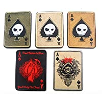 Death Card Rectangular Patch Embroidery Spade A Poker Tactical Patch Military Morale TAD Armband Army Cloth Combat Badge