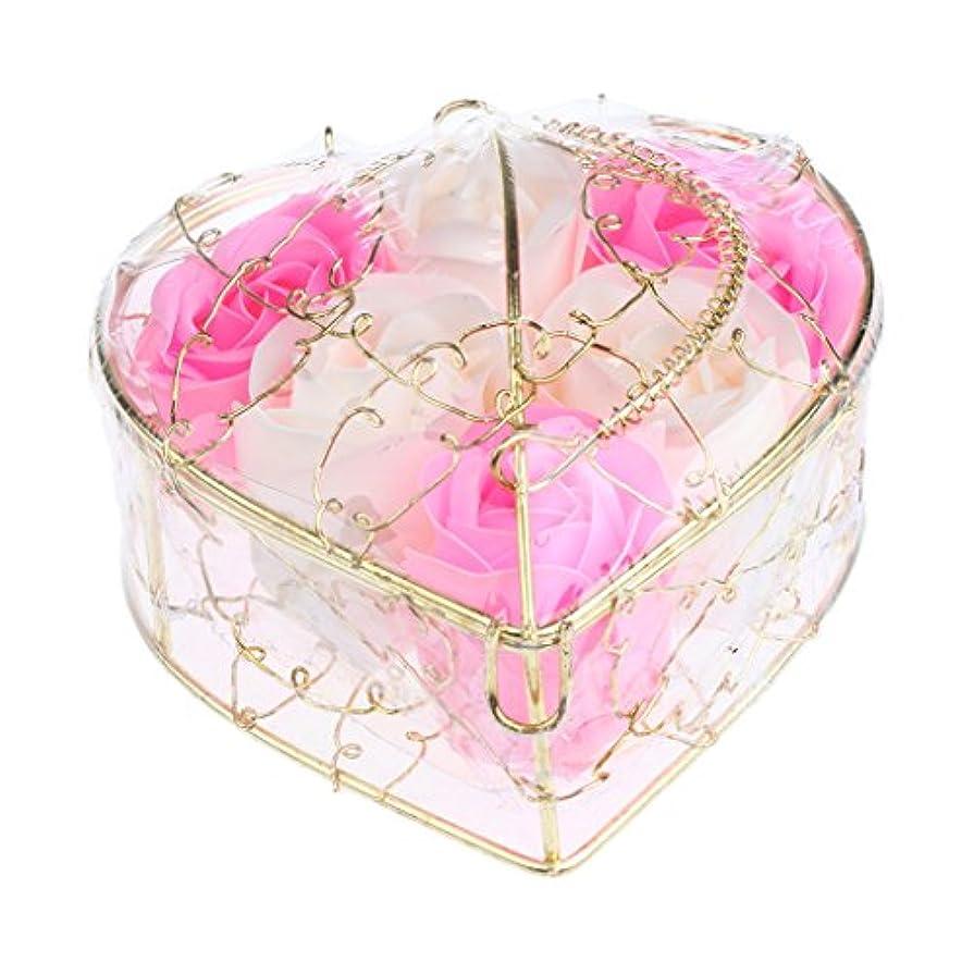 Baoblaze 6個 石鹸の花 母の日 プレゼント 石鹸 お花 枯れないお花 心の形 ギフトボックス プレゼント 全5仕様選べる - ピンクとホワイト