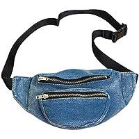 Everpert Denim Women Belt Waist Pack Shoulder Messenger Fanny Chest Bag/Light