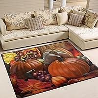 naanle感謝祭休日エリアラグ、感謝祭Harvest Pumpkinポリエステルエリアラグマットforリビングダイニング寮の部屋寝室ホームデコレーション 5'*7' 1556419p147c162s245