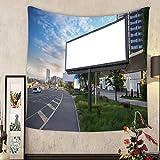メアリー・J・テイラーカスタムタペストリーBillboardキャンバスモックアップin City背景美しいWeather 55 X 55 Inch
