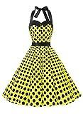 Dressystar レディーズ ホルターネック スイングワンピース ノースリーブ 水玉柄 ボタン付け 発表会ドレス お呼ばれ フォーマルドレス イエロー ブラッ ドット M