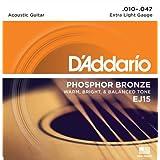 D'Addario ダダリオ アコースティックギター弦 フォスファーブロンズ Extra Light .010-.047 EJ15 【国内正規品】