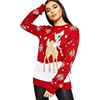 WearAll Womens Oversized Baggy Reindeer Long Sleeve Festive Christmas Jumper