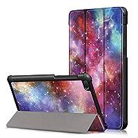 Ffish Lenovo Tab E7 ケース、トリフォールドスタンド、スリムレザー スケースカバー為にLenovo Tab E7 7インチ 2018 (TB-7104F) - 銀河