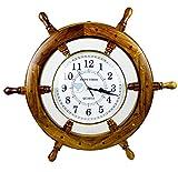 時間の壁時計  Nautical Pirate 's Ship Wheel  プレミアムクラフトギフト  Nagina International 16 Inches ClockWheel16